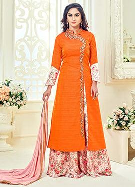 Krystle D Souza Orange Art Silk Palazzo Suit