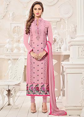 Krystle D souza Pink Georgette Straight Suit