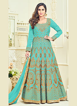 Krystle Dsouza Aqua Blue Abaya Style Anarkali Suit