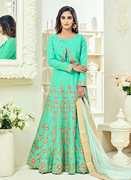 Krystle dsouza Aqua Green Abaya N Jacket Style Anarkali Suit
