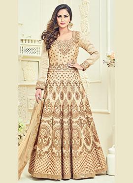 Krystle Dsouza Beige Abaya Style Anarkali Suit