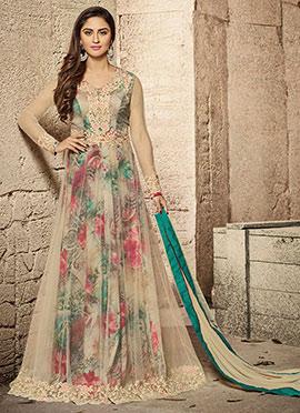 Krystle Dsouza Beige Net Abaya Style Anarkali Suit