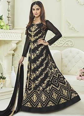 Krystle Dsouza Black Abaya Style Anarkali Suit