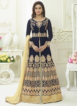 Krystle Dsouza Blue Abaya Style Anarkali Suit