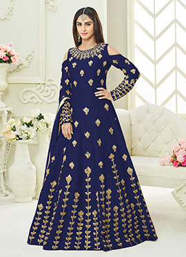 Krystle Dsouza Blue Art Silk Anarkali Suit