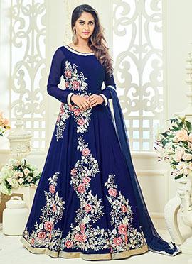 Krystle dsouza Blue Georgette Abaya Style Anarkali Suit