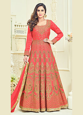 Krystle Dsouza Coral Pink Abaya Style Anarkali Suit