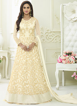 Krystle Dsouza Cream Abaya Style Anarkali Suit