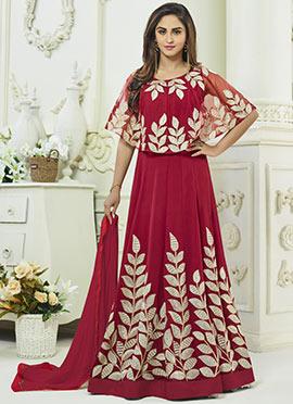 Krystle Dsouza Dark Pink Abaya Style Anarkali Suit