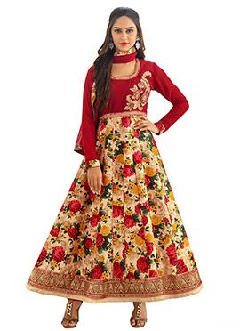 Krystle Dsouza Floral Print Anarkali Suit