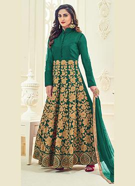 Krystle Dsouza Green Abaya Style Anarkali Suit