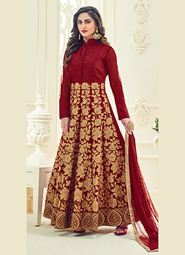 Krystle Dsouza Maroon Abaya Style Anarkali Suit