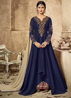 Krystle Dsouza Navy Blue Art Silk Palazzo Suit