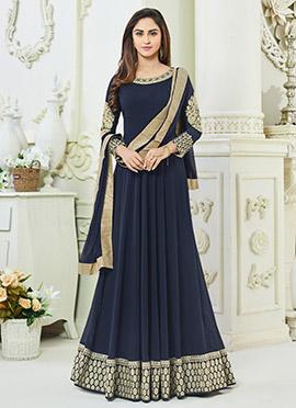 Krystle dsouza Navy Blue Georgette Anarkali Suit