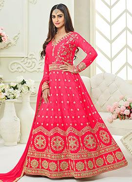 Krystle Dsouza Pink Abaya Style Anarkali Suit