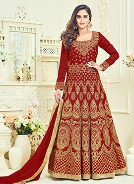 Krystle Dsouza Red Abaya Style Anarkali Suit
