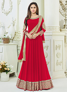 Krystle dsouza Red Georgette Anarkali Suit