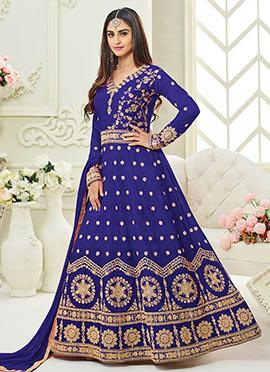 Krystle Dsouza Royal Blue Abaya Style Anarkali Suit