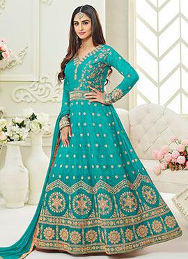 Krystle Dsouza Sky Blue Abaya Style Anarkali Suit