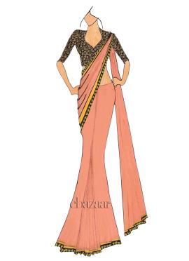 Kumquat  Saree With Embroidered Blouse