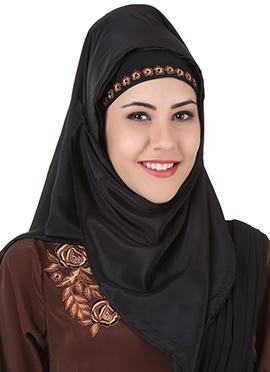Laaibah Black Crepe and Georgette Eid Hijab