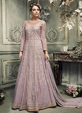 Lavender Abaya Style Anarkali Suit