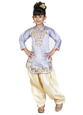 Lavender Art Dupion Silk Kids Salwar Kameez