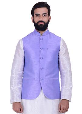 Lavender Art Silk Nehru Jacket