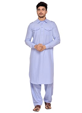 Lavender Art Silk Pathani Set