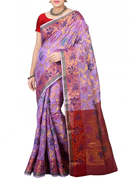 Lavender Art Silk Saree
