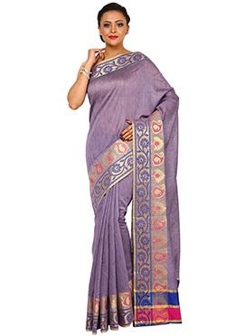 Lavender Art Tussar Silk Zari Woven Saree