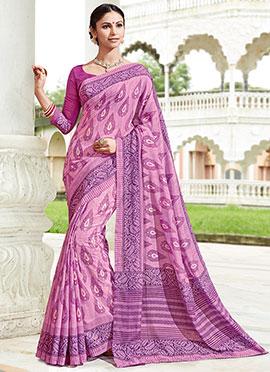 Lavender Bhagalpuri Art Silk Saree