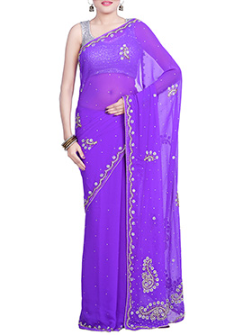 Lavender Chiffon Hand Embroidered Saree