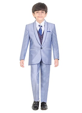 Steel blue Cotton Kids Suit
