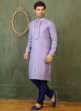 Lavender Cotton Linen Kurta Pyjama