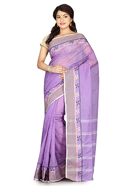 Lavender Bengal Handloom Tant Saree