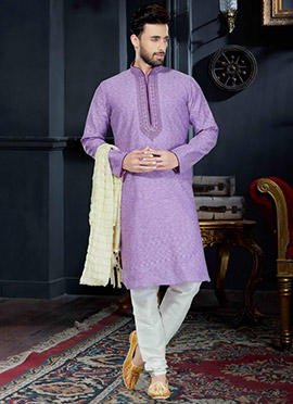 Lavender Cotton Silk Kurta Pyjama