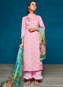 Lavender Embroidered Palazzo Suit