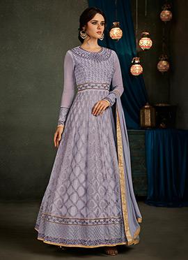 Lavender Georgette Abaya Style Anarkali Suit