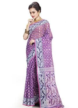 Lavender Jamdani Saree
