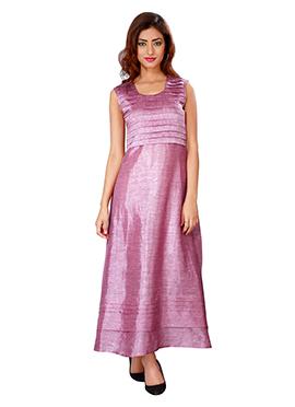 Lavender Linen Anarkali Gown
