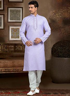 Lavender Linen Cotton Kurta Pyjama
