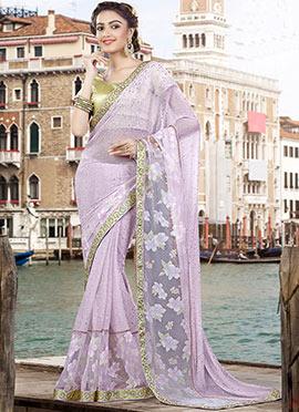 Lavender Lycra Net Saree