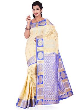 Lavender N Beige Art Silk Saree