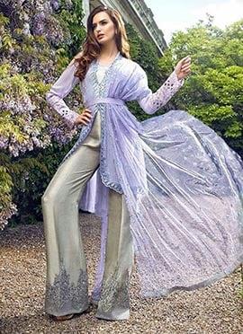 Lavender N Beige Jacket Style Palazzo Suit