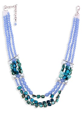 Lavender N Blue Circular Necklace Set