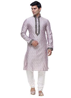 Lavender N Off White Brocade Kurta Pyjama