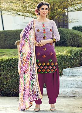 Lavender N Purple Cotton Patiala Suit