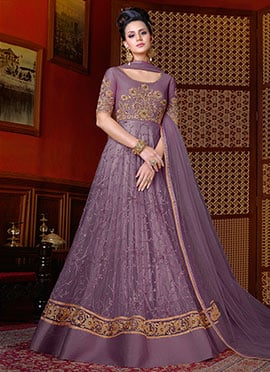 Lavender Net Abaya Style Anarkali Suit