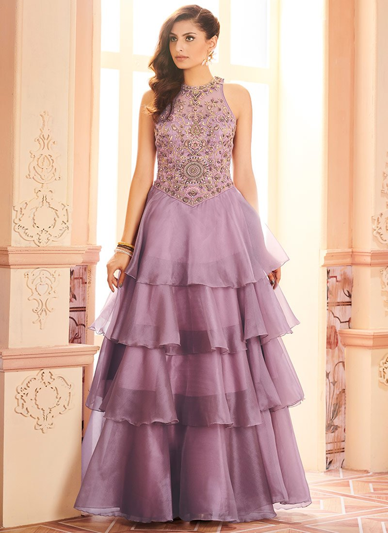 Buy Lavender Net Layered Anarkali Gown Embroidered Dresses And